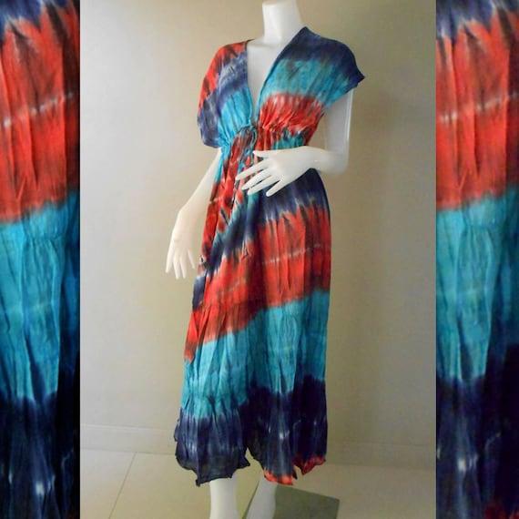 Multi-Color  Hippie Gypsy Artwork handmade Tie Dye  Cotton maxi Kimono dress S-L (TD 332)