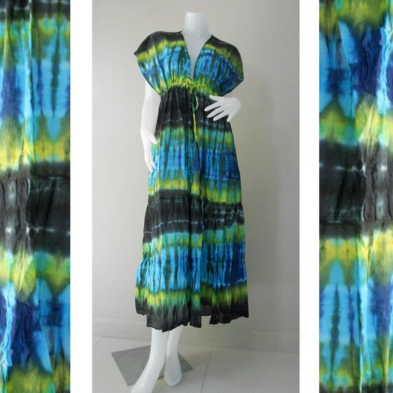 New Tropical Colorful Tie Dye Cotton Boho Hippie V-Neck Artwork Beach Handmade Maxi Gypsy Kimono Dress S-L (TD 460)