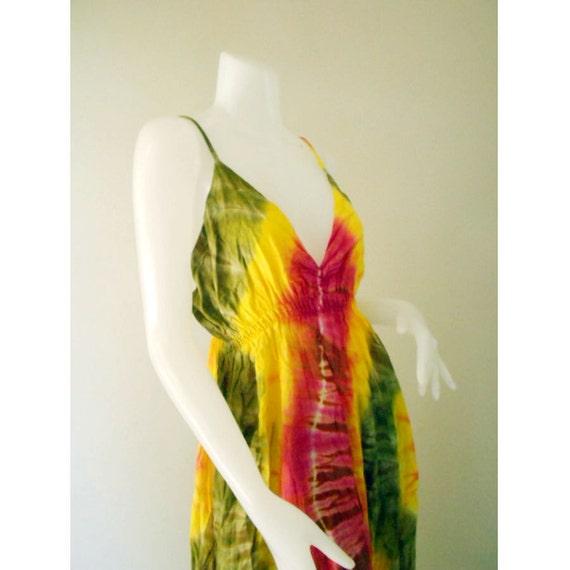 Long Boho Hippie Gypsy Colorful Women Dress Summer Sexy Dress, Tie Dye Cotton Halter Maxi Beach Comfy Casual Sundress Dress M-XL (DMSS 382)