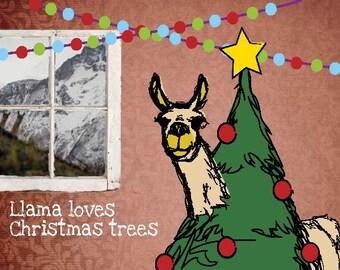 Llama design Christmas card on recycled card stock