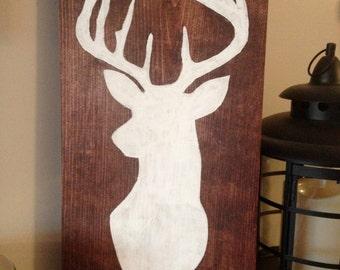 Hand Painted Deer Silhouette Wood Sign