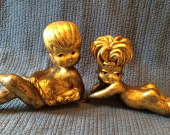 Vintage Gold Leaf Foil Boy and Girl Figures