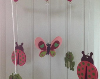 Colorful Frogs, Lady Bugs and Butterfly Mobile