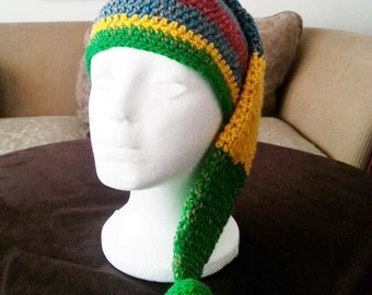 OOAK Crochet Stocking Hat, Crochet Striped Stocking Cap, Multi Color Crochet Elf Hat, Adult Crochet Stocking Hat