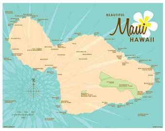 Maui, HI Map Print (Vintage Turquoise)