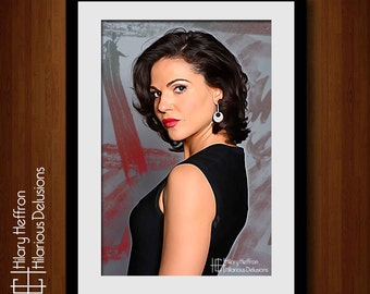 Lana Parrilla Digital Painting Print, The Evil Queen, Once Upon a Time