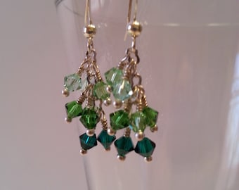 Shades of Green Crystal Cascade Earrings