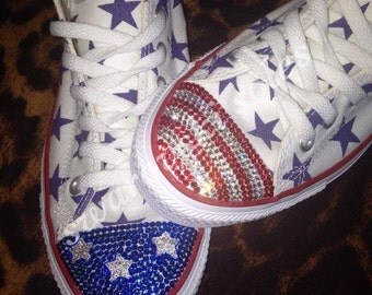 Swarovski Customised USA flag Converse