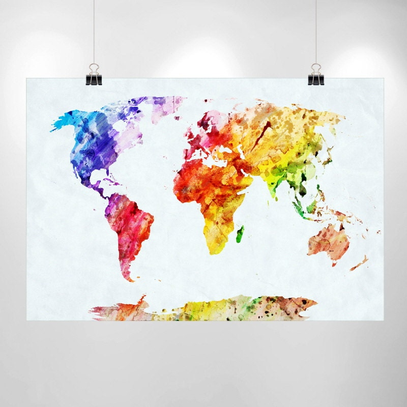 Large World Map Decal Large Watercolor World Map