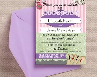 Vintage Las Vegas Themed Wedding Invitation U0026 RSVP With Envelopes