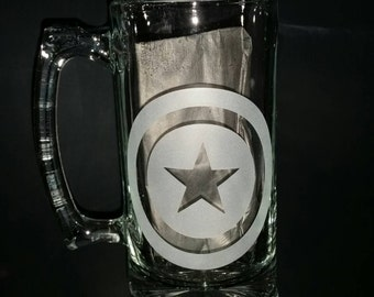 Captain America Sand Carved Glass Mug