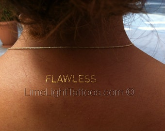 2 Sheets of Metallic Tattoos, Flawless Tattoos, Gold Tattoos by LimeLight Tattoos - Style FLG