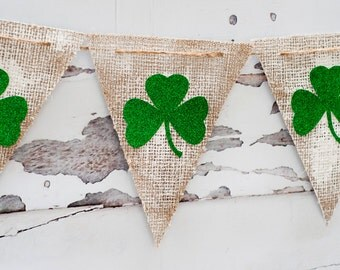 Rustic Shamrock Banner, Rustic St. Patrick's day Banner, Clover Burlap Banner, St. Paddy's Day Banner, B053