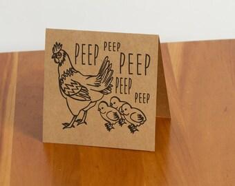 "FREE SHIPPING! Handmade Hen and Chicks ""Peep peep peep peep"" Card"