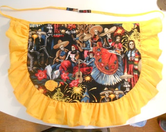 Skeleton Mariachi Party with Ruffles Half Size Adult Apron