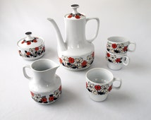 Mid Century Coffee Serving Set with flowers from Hollohaza Porcelain/ Retro Flower Coffee Pot Se