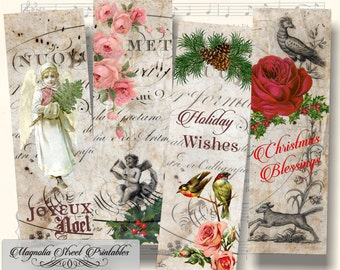 Christmas Bookmarks, Printable Vintage Holiday Bookmarks, Printable Vintage Bookmarks, Digital Bookmarks Collage Sheet, Instant Download