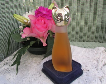 Vintage Max Factor Hypnotique Sophisticat perfume, cologne,cat shaped bottle.