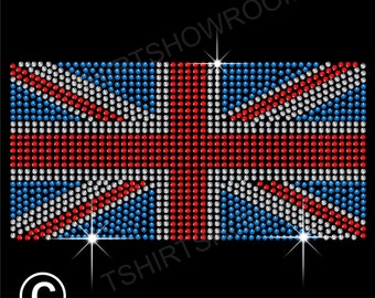 Union Jack British / UK Flag Rhinestone Hotfix Transfer Iron-on Applique Motif with a free small transfer to try on