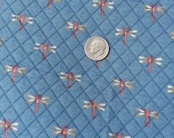 7  2/9 yards, P Kaufmann, Dragonflies on Quilted Blue, Designer Fabric,  1st