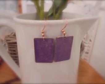 copper purple square earrings