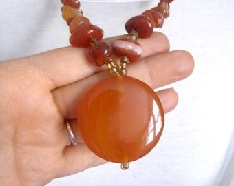 Orange amber glass beads necklace