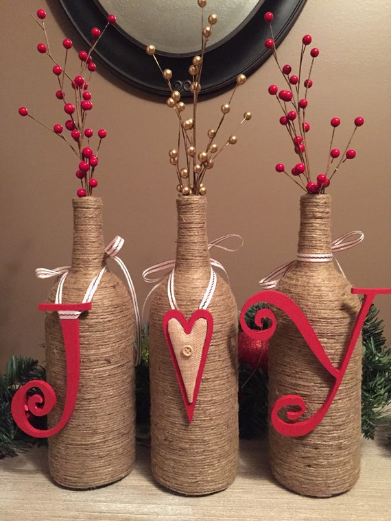 Items similar to joy wine bottle decor on etsy for Wine bottle material