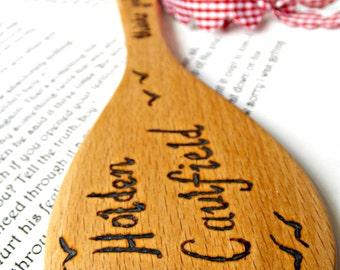 Holden Caulfield Catcher In The Rye Pyrography Art Wood Burning Wooden Spoon Keepsake