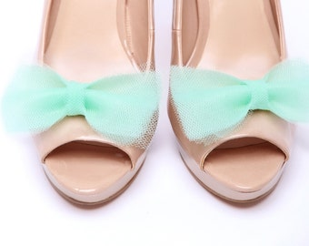 Ballerina's Bow Mint shoe clips