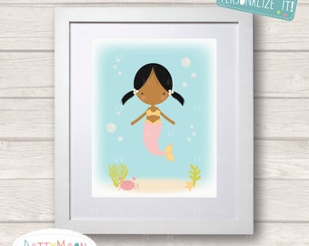 Mermaid in the sea,pink, Childrens / Art Nursery Print,  Wall Decor,  Wall Art. Can be personalized with a name.