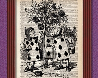 BUY 2 GET 1 FREE Dictionary Art Print Painting the Roses Red in Wonderland Cards Queen of Hearts Decor Wall Lewis Caroll