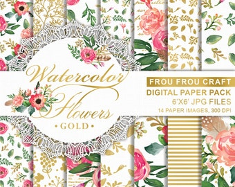 Watercolor Gold Flowers Digital Paper Pack Instant Download Texture Personal Use Floral Romantic Bright Spring Background 6x6 inches
