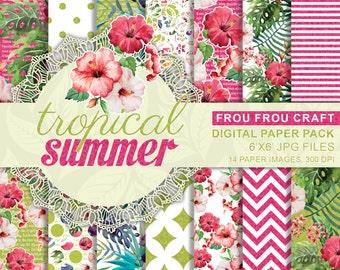 Summer Tropical Digital Paper, Instant Download, Floral Digital Paper, Pink Green Digital, Colorful Digital, Aloha Hawaii Digital Pattern