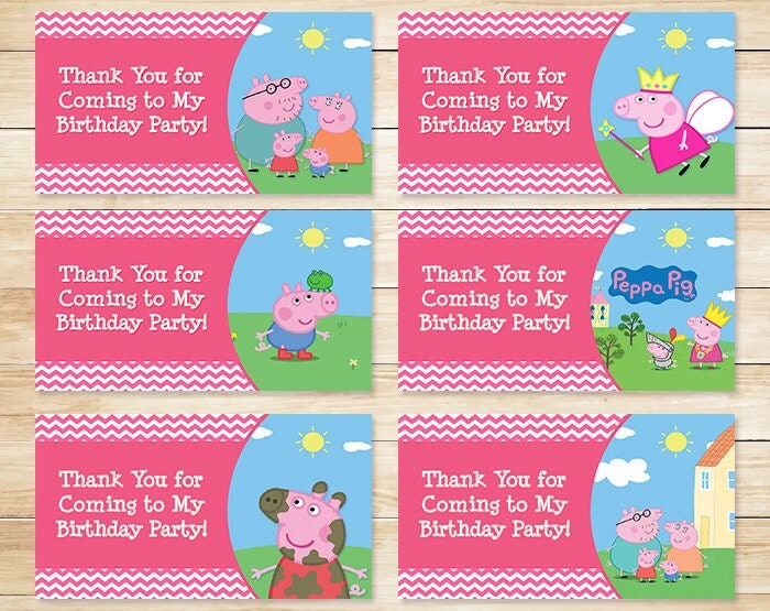 printable pokeman valentines day cards - Printable Peppa Pig Birthday Goody Bag Tags by
