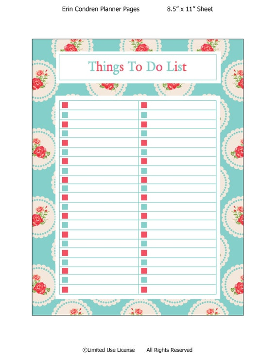 Items similar to Printable planner-Things To Do List-Erin Condren ...