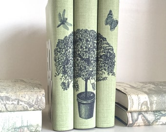 Green Books with Botanical Tree Image, Decorative Books with Image of Botanical Tree, Interior Design Books with Custom Covers, Book Decor