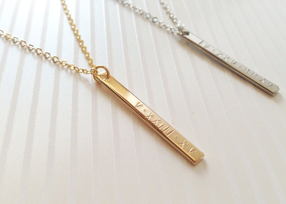 Roman Numerals Bar Necklace Dainty Engraved By Mignonandmignon