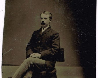 Seated Mustached Man Distance Photo 1880's Tintype