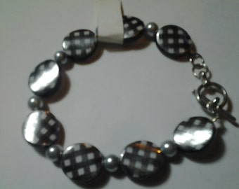 Black & Silver Colored Plaid Bracelet