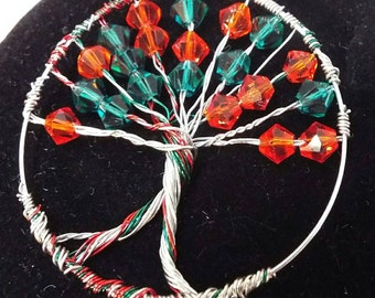 Tree of Life Pendant, Christmas Red, Green, Silver Wire Wrapped Pendant / Charm, Swarovski Crystal Ruby / July or Emerald / May Birthstone