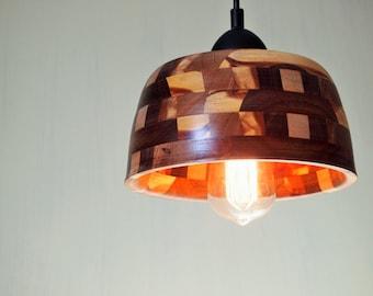 WOOD PENDANT LIGHT Mid-century lamp