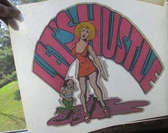 Hustle 1970s dance iron on decal