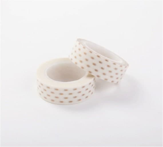 Washi tape with small gold dots, 15mm x 10m – perfect for scrapbooking, gift wrapping, collages, card making