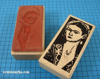 Frida Self Portrait Stamp / Invoke Arts Collage Rubber Stamps
