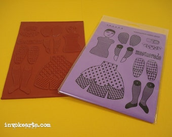 Lg Pierrot Paper Doll Invoke Arts Collage Rubber Stamps / Unmounted Stamp Set
