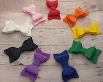 CHOOSE ANY TWO / 30+ Colors - Mini Wool Felt Hair Bow Clip Set / Mini Felt Bow / Felt Bow Clip / Mini Bow Clip / Felt Hair Clip