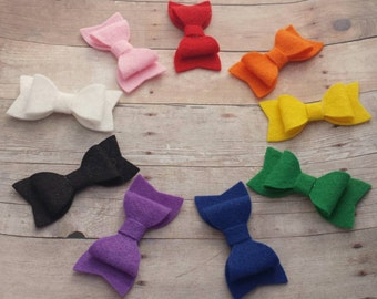 CHOOSE ANY TWO / 40+ Colors - Mini Wool Felt Hair Bow Clip Set / Mini Felt Bow / Felt Bow Clip / Mini Bow Clip / Felt Hair Clip / Felt Bows