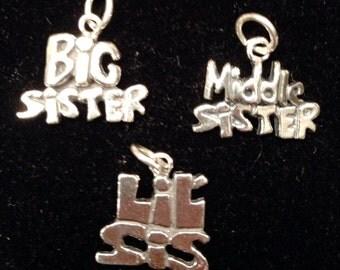 Sisters Sterling Charms, Big Sister Charm, Middle Sister Charm, Little Sister Charm, Sterling Silver Sisters Charms, Sorority Sisters Charms