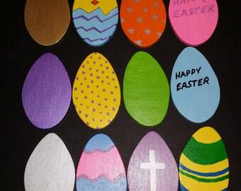Wooden Easter Egg Magnets
