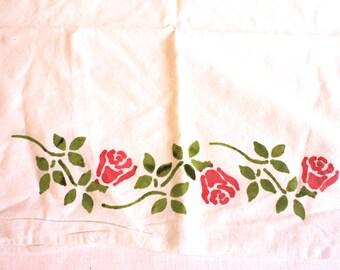 Vintage hand painted floral cotton pillowcase